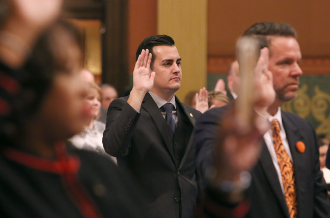 All 110 members of the House, including newly-elected State Rep. Darrin Camilleri (D-Brownstown) took the oath of office on the first day of the new session, Wednesday, January 11, 2017.