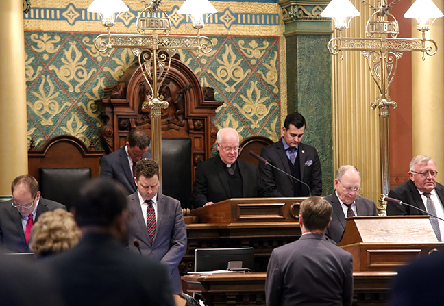 State Rep. Darrin Camilleri (D-Brownstown Twp.) welcomed Pastor Jack Eggleston of Unity Lutheran Church in Southgate for the Invocation on Tuesday, Jan. 16, 2017.