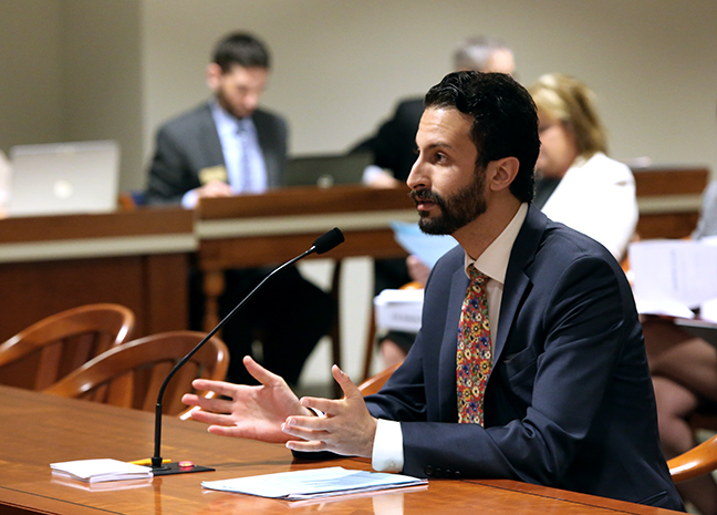 State Rep. Yousef Rabhi (D-Ann Arbor) testifies in the House Committee on Law and Justice on HB 5800, which would prohibit students from being expelled for reporting a sexual assault, on May 1, 2018.