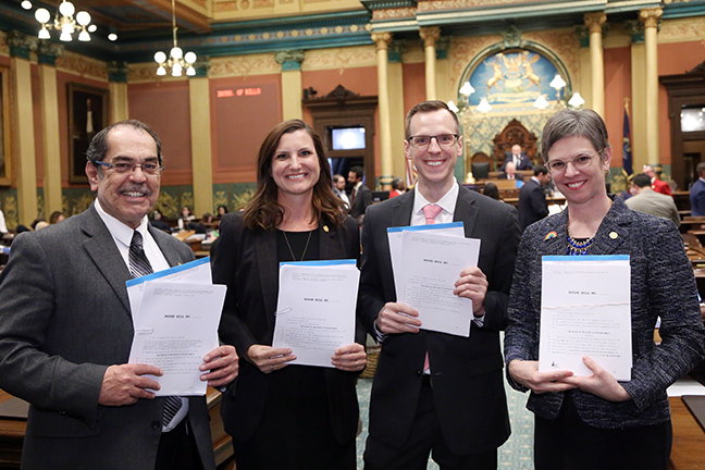 State Reps. Tim Sneller (D-Burton), Kristi Pagan (D-Canton), Jon Hoadley (D-Kalamazoo) and Julie Brixie (D-Meridian Township) introduced a package of bills to end discrimination in Michigan's adoption laws by repealing Public Acts 53-55 of 2015, and allowing second-parent adoption in Michigan, on Tuesday, April 16, 2019. The legislation would ensure that same-sex couples have the same rights as any other couple in the adoption process.