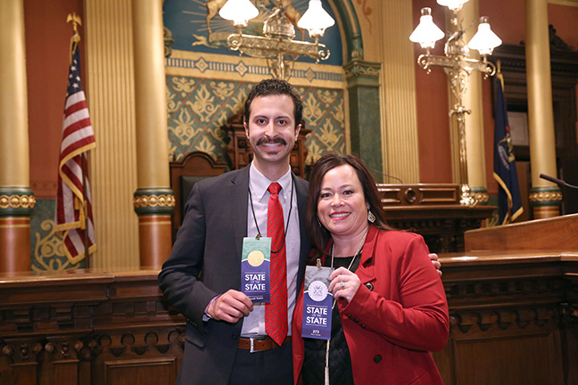 State Rep. Yousef Rabhi (D-Ann Arbor) at the 2017 State of the State address at the state Capitol on Tuesday, Jan. 17, 2017, with his guest and former colleague, Washtenaw County Commissioner Alicia Ping (R-District 3).