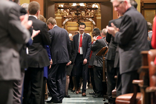 State Rep. Yousef Rabhi (D-Ann Arbor) escorted the state officers before the 2017 State of the State address at the state Capitol on Tuesday, Jan. 17, 2017. Rep. Rabhi attended the governor's address with his former colleague, Washtenaw County Commissioner Alicia Ping (R-District 3).