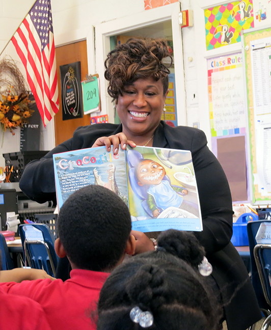In celebration of March is Reading Month, State Rep. Tenisha Yancey (D-Detroit) read to students at Beacon Elementary School in Harper Woods on Wednesday, March 28, 2018.