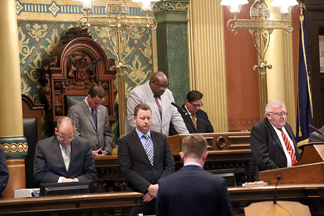 State Rep. William Sowerby (D-Clinton Twp.) welcomed Minister Amir K. Bracken, Minister of North Broadway Church of Christ in Mount Clemons, for the invocation on Wednesday, Oct. 25, 2017.