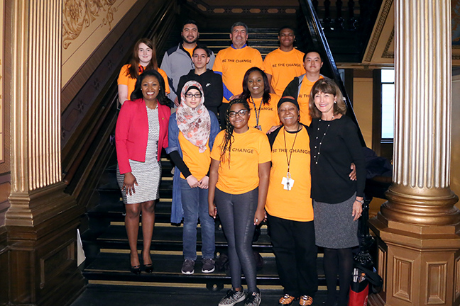 State Rep. Sarah Anthony (D-Lansing) welcomed the Lansing Junior School Board to the Capitol on Thursday, April 18, 2019.