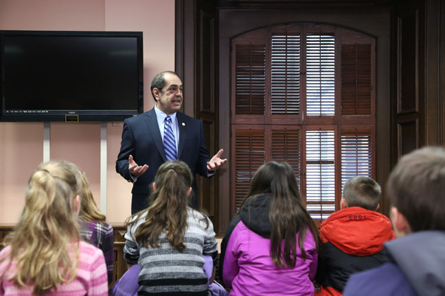 State Rep. Tim Sneller (D-Burton) talked with students from Good Shepherd Lutheran School during their tour of the Capitol on Tuesday, January 24, 2017.