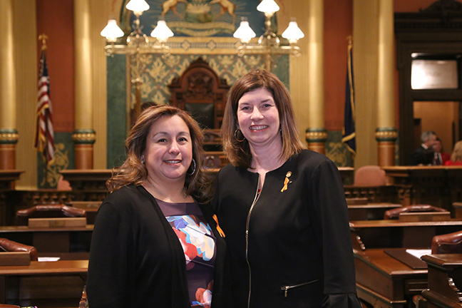 State Rep. Cara Clemente (D-Lincoln Park) attended tonight's State of the State address with her guest, Cindy Garcia, wife of recently deported man Jorge Garcia, on Tuesday, Jan. 23, 2018, at the state Capitol in Lansing.