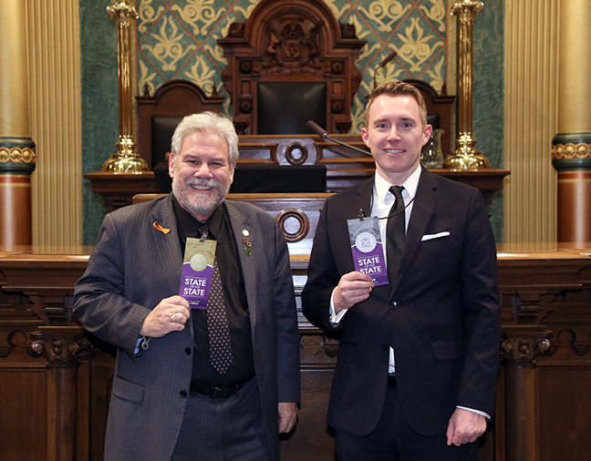 State Rep. Jim Ellison (D-Royal Oak) at the 2018 State of the State address at the Michigan State Capitol on Tuesday, Jan. 23, 2018, with Madison Heights Mayor Brian Hartwell.