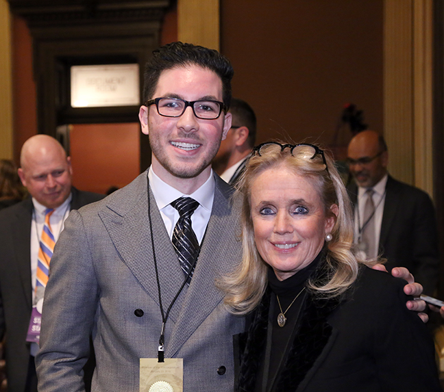 State Rep. Abdullah Hammoud (D-Lincoln Park) attended tonight's State of the State address with his guest, Congresswoman Debbie Dingell, on Tuesday, Jan. 23, 2018, at the state Capitol in Lansing.