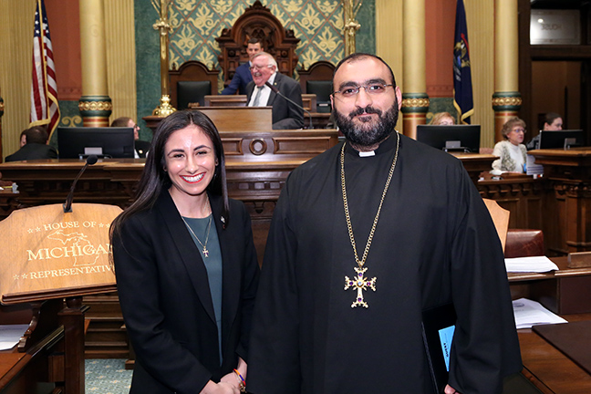 Representative Mari Manoogian (D-Birmingham) welcomed Father Hrant Kevorkian, of St. Sarkis Armenian Apostolic Church in Dearborn, for the invocation on Wednesday, April 24, 2019.
