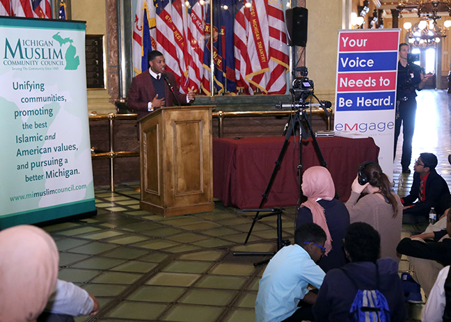 State Rep. Jewell Jones (D-Inkster) speaks at the Michigan Muslim Capitol Day event on Wednesday, May 9, 2018.