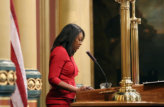 State Rep. Sarah Anthony (D-Lansing) gives the invocation on Thursday, February 14, 2019.