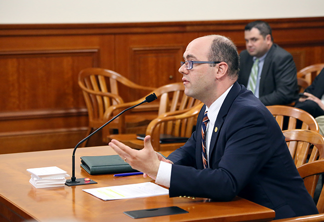 State Rep. John Cherry (D-Flint) gives testimony in the House Oversight Committee on Thursday, April 25, 2019.