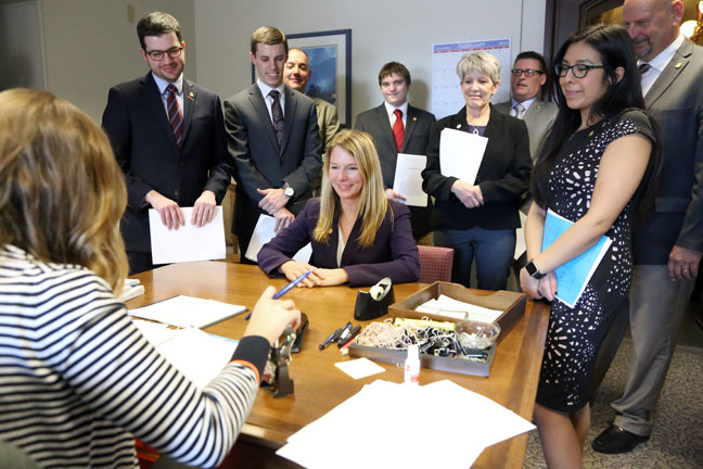 State Rep. Donna Lasinski (D-Scio Twp.) joined a bipartisan group of legislators at the clerk's office introducing a package of bills that would extend Freedom of Information Act (FOIA) requests to apply to the governor's office and would create a similar Legislative Open Records Act to apply to the state Legislature, on Wednesday, Feb. 1, 2017.
