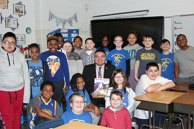 State Rep. Alex Garza (D-Taylor) read to students at Blair Moody Elementary in honor of March is Reading Month, on Friday, March 8, 2019.