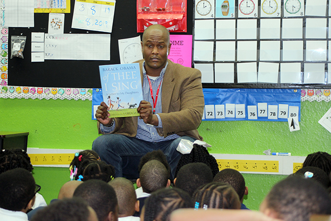 State Rep. Joe Tate (D-Detroit) read to students at Detroit Merit Charter Academy in honor of March is Reading Month on Monday, March 11, 2019.