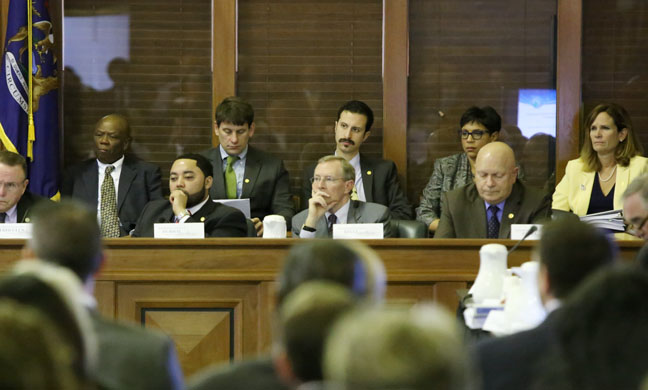 State Rep. Yousef Rabhi (D-Ann Arbor) during the unveiling of Gov. Snyder's budget during a joint session of the House and Senate Appropriations Committees on Wednesday, Feb. 8, 2017.