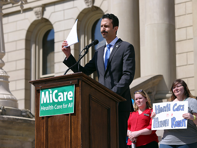 State Rep. Yousef Rabhi (D-Ann Arbor) introduced legislation to create the MiCare program, which would bring universal single-payer health coverage to Michigan, at a Capitol press conference on Monday, July 2, 2018. Rep. Rabhi was joined by other Democratic representatives and health care advocates from around the state, including the Michigan Nurses Association.