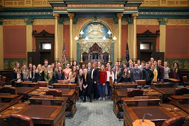 State Rep. Sara Cambensy (D-Marquette) welcomed to the House floor 30 students from Marquette Senior High School during their tour of the Capitol on Thursday, January 10, 2018.