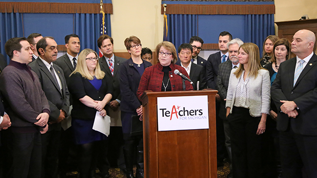 House Democratic Floor Leader Christine Greig (D-Farmington Hills) joined Sen. Hoon-Yung Hopgood (D-Taylor) and other members of the House and Senate Democrats for a press conference Thursday, January 25, 2018, to announce a TeA+chers for Michigan education plan — a 21st-century overhaul of the state's K-12 schools — designed to prepare the best, attract the brightest and retain the finest Michigan educators.