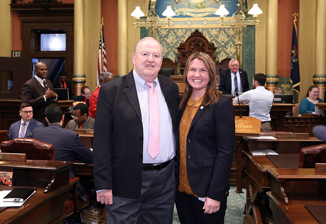 State Rep. Sara Cambensy (D-Marquette) welcomed Rev./Dr. Mark Engle, retired pastor of St. Paul's Episcopal Church in Marquette, for the invocation on Tuesday, April 30, 2019.
