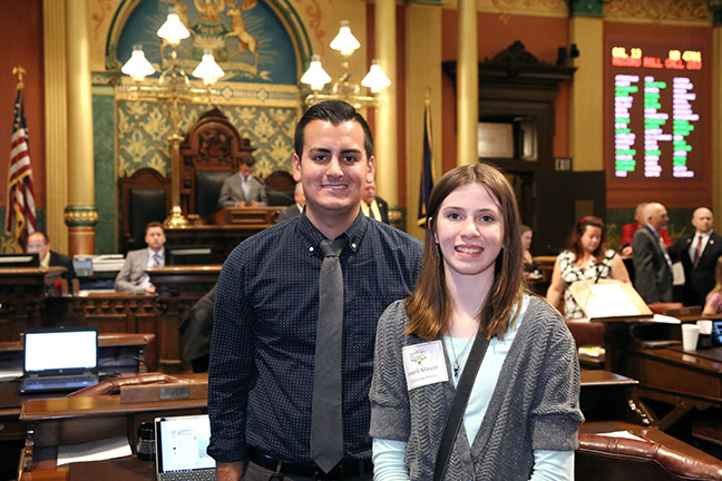 State Rep. Darrin Camilleri (D-Brownstown Twp.) welcomed State Fair Scholarship winner Jewell Mason to the House Floor on Thursday, Sept. 28. 2017.