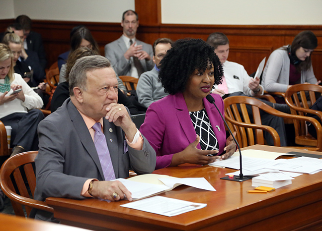 State Reps. Sarah Anthony (D-Lansing) and Doug Wozniak (R-Shelby Township) testified on a bipartisan package of bills to prevent elder adult abuse, on the House Committee on Families, Children and Seniors Wednesday, May 1, 2019.