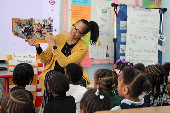 State Rep. Karen Whitsett (D-Detroit) read to students at Mann Learning Community in celebration of March is Reading Month on Friday, march 29, 2019.