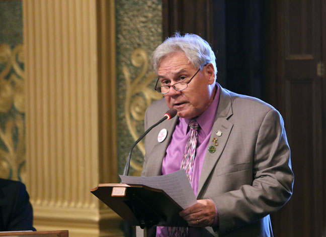 State Rep. Jim Ellison (D-Royal Oak) speaks on the House floor in support of May as Cystic Fibrosis Awareness Month, on Thursday, May 4, 2017.