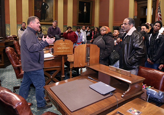 State Rep. Terry Sabo (D-Muskegon) talked with students and parents from Muskegon Heights Academy during their tour of the Capitol on Friday, January 18, 2019.