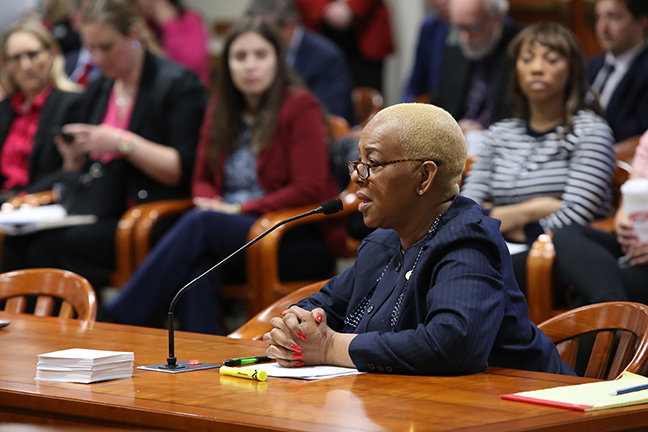 State Rep. Cynthia Johnson (D-Detroit) testifying in the House Judiciary Committee Tuesday, May 7, 2019.