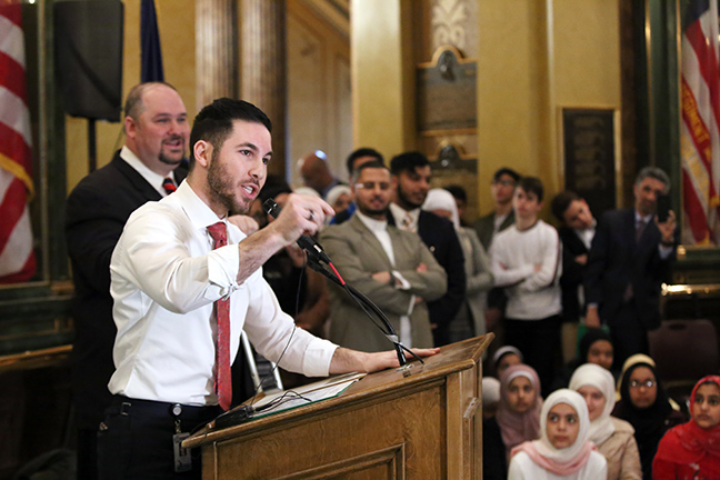 State Rep. Abdullah Hammoud (D-Dearborn) spoke at the Michigan Muslim Day celebration in the rotunda on Wednesday, April 14, 2019.