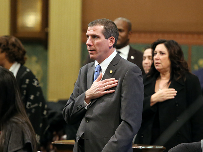 State Rep. Nate Shannon (D-Sterling Heights) says the Pledge of Allegiance on the House floor on Wednesday, January 23, 2019.