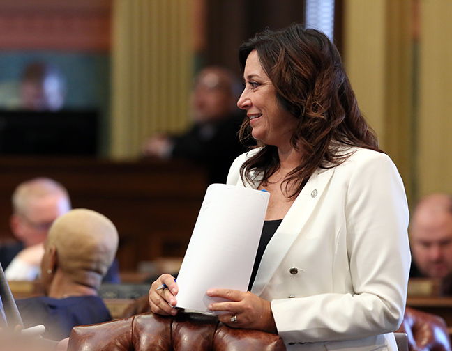 State Rep. Angela Witwer (D-Delta Township) on the House floor Tuesday, May 7, 2019.