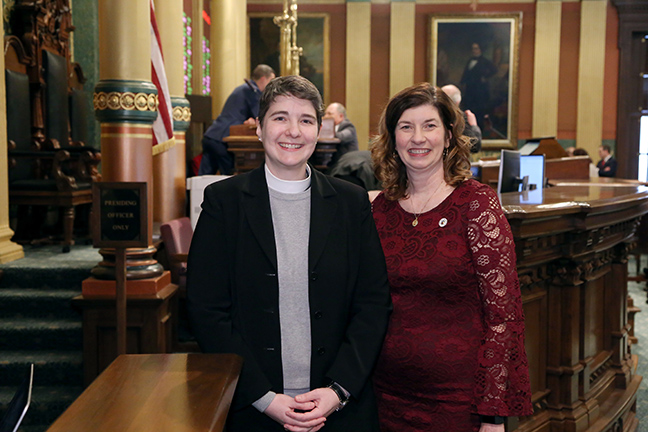 State Rep. Cara Clemente (D-Lincoln Park) welcomed Rev. Kara Hildebrandt, of Lincoln Park Presbyterian Church, for the invocation on Wednesday, February 27, 2019.