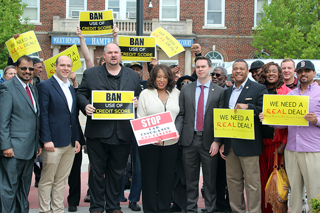 State Representatives Isaac Robinson (D-Detroit), Sherry Gay-Dagnogo (D-Detroit), Tyrone Carter (D-Detroit), John Cherry (D-Flint) and Kevin Coleman (D-Westland) held an auto insurance reform press conference at Hamtramck City Hall Monday, May 20, 2019.