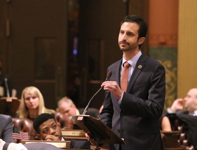 State Rep. Yousef Rabhi (D-Ann Arbor) speaks against a plan to repeal the state income tax, on Wednesday, Feb. 22, 2017.