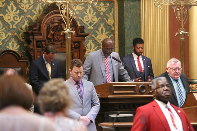Elder Dr. Paul A. Turner, Jr., Co-Assistant Pastor of The Spiritual Israel Church & Its Army, Michigan Temple #8, gave the invocation to open session on Wednesday, May 17, 2017. He was the guest of state Rep. Jewell Jones (D-Inkster).