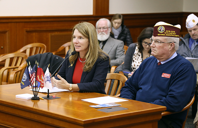 State Rep. Donna Lasinski (D-Scio Township) testified in front of the House Military and Veterans Affairs Committee in favor of her House Resolution 191, which supports the initiative to bring the first Fisher House to Michigan, on Tuesday, Jan. 30, 2018. The Fisher House would be established in Ann Arbor to provide lodging for the family of veterans who visit the Veterans' Administration Ann Arbor Healthcare System (VAAAHS).