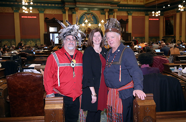 State Rep. Cara Clemente (D-Lincoln Park) introduced House Resolution 198 marking November 2017 as American Indian Heritage Month in Michigan, on Thursday, Nov. 9, 2017. Clemente herself is a member of the Wyandot of Anderdon Nation. She invited her own Grand Chief Ted Roll and Second Chief D'Arcy Tammaro to celebrate the passage of the resolution.