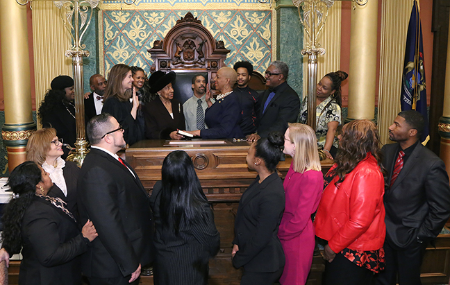 State Rep. Cynthia Johnson (D-Detroit) was sworn in officially as representative for the 5th House District for the 2019-2020 legislative session, on Wednesday, January 9, 2019. The swearing-in ceremony marked the formal opening of Michigan's 100th Legislature.