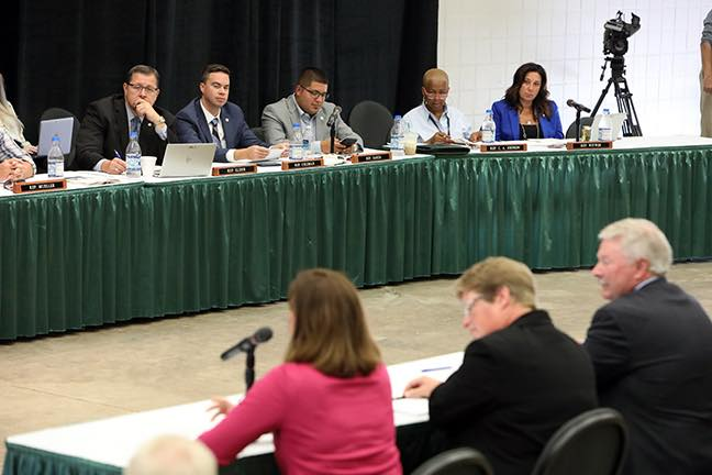 State Rep. Angela Witwer (D-Delta Township) at the joint House and Senate Agricultural Committee meeting in August at MSU Pavilion held to discuss solution for farmers who experience an unusually difficult growing season.