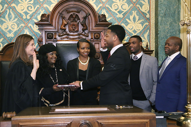 State Rep. Jewell Jones (D-Inkster) was sworn in officially as representative for the 11th House District for the 2019-2020 legislative session, on Wednesday, January 9, 2019. The swearing-in ceremony marked the formal opening of Michigan's 100th Legislature.