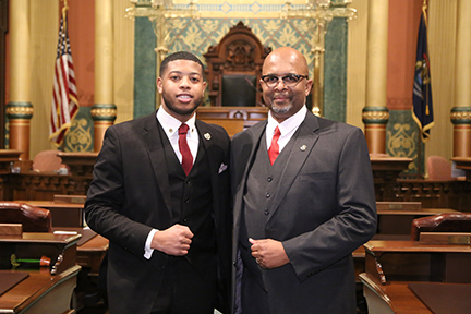 State Rep. Jewell Jones (D-Inkster) welcomed Inkster Police Chief William Riley as his guest for the State of the State address Tuesday, February 12, 2019.