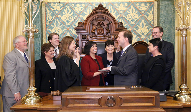 State Rep. Matt Koleszar (D-Plymouth) was sworn in officially as representative for the 20th House District for the 2019-2020 legislative session, on Wednesday, January 9, 2019. The swearing-in ceremony marked the formal opening of Michigan's 100th Legislature.