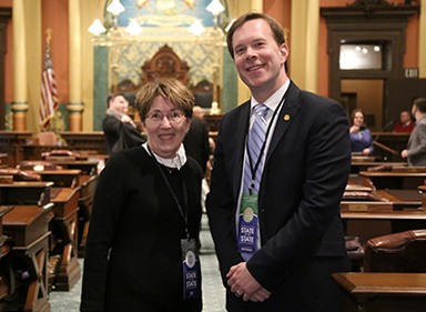 State Rep. Matt Koleszar (D-Plymouth) welcomed retired Plymouth-Canton Community Schools teacher Nancy Sullivan as his guest for the State of the State address Tuesday, February 12, 2019.