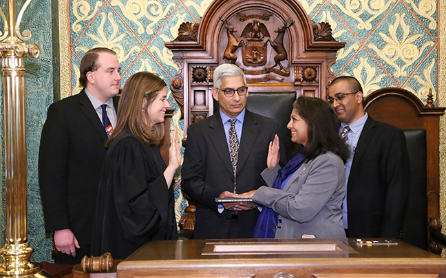 State Rep. Padma Kuppa (D-Troy) was sworn in officially as representative for the 41st House District for the 2019-2020 legislative session, on Wednesday, January 9, 2019. The swearing-in ceremony marked the formal opening of Michigan's 100th Legislature.