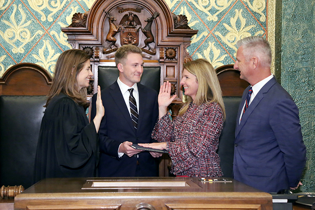 State Rep. Donna Lasinski (D-Scio Township) was sworn in officially as representative for the 52nd House District for the 2019-2020 legislative session, on Wednesday, January 9, 2019. The swearing-in ceremony marked the formal opening of Michigan's 100th Legislature.