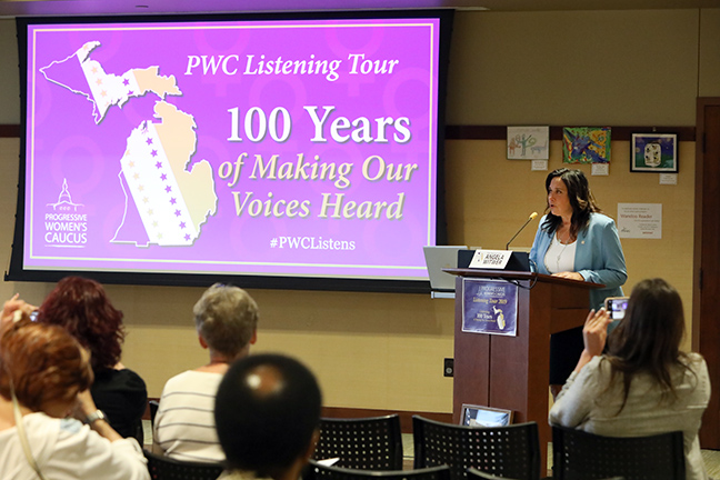 State Rep. Angela Witwer hosted a Progressive Women's Caucus Town Hall at the Delta Township Library in July.