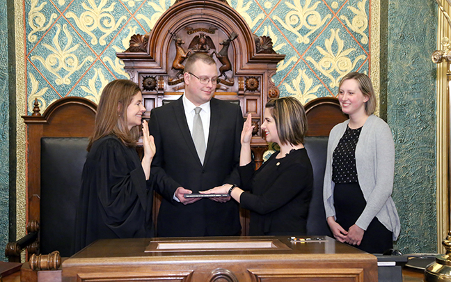 State Rep. Laurie Pohutsky (D-Livonia) was sworn in officially as representative for the 19th House District for the 2019-2020 legislative session, on Wednesday, January 9, 2019. The swearing-in ceremony marked the formal opening of Michigan's 100th Legislature.